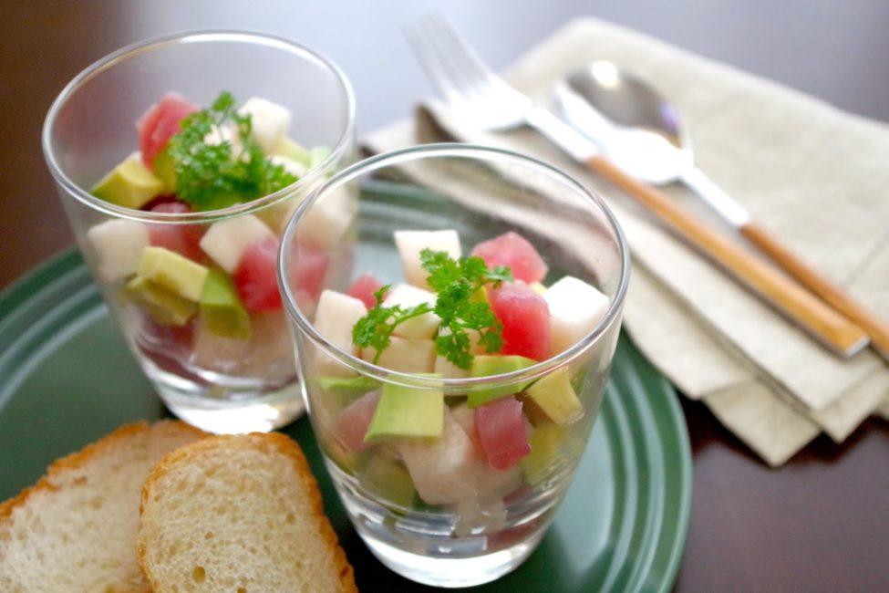 《長芋のピクルス》とアボカドマグロのダイスサラダ