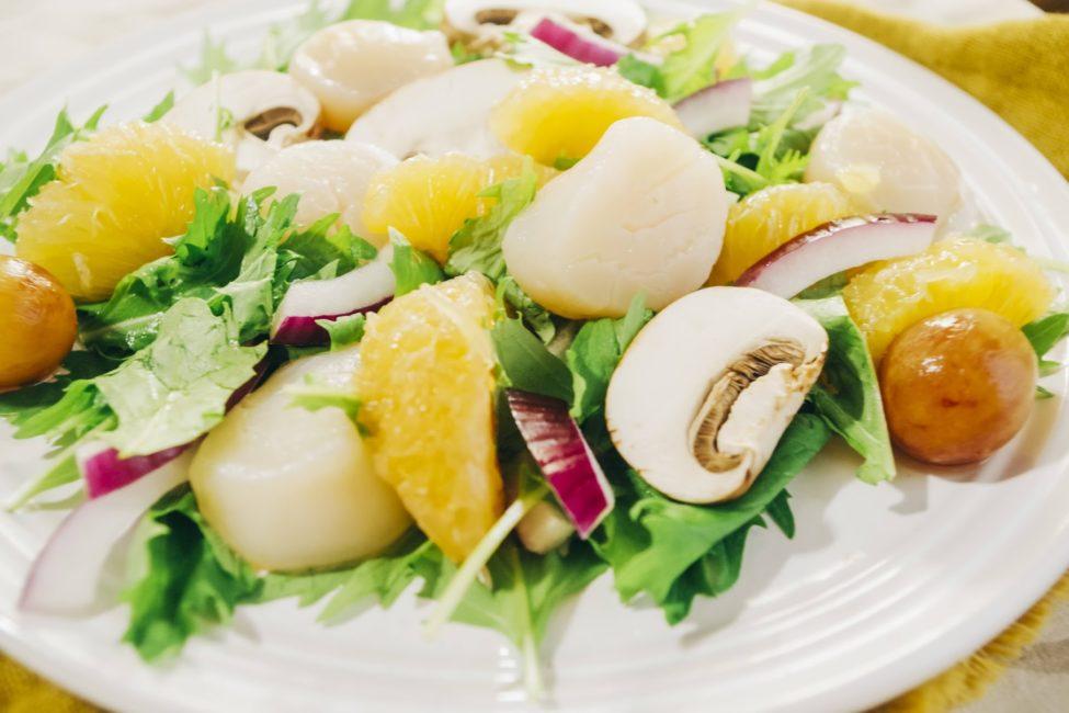 河内晩柑とホタテのフルーツサラダ